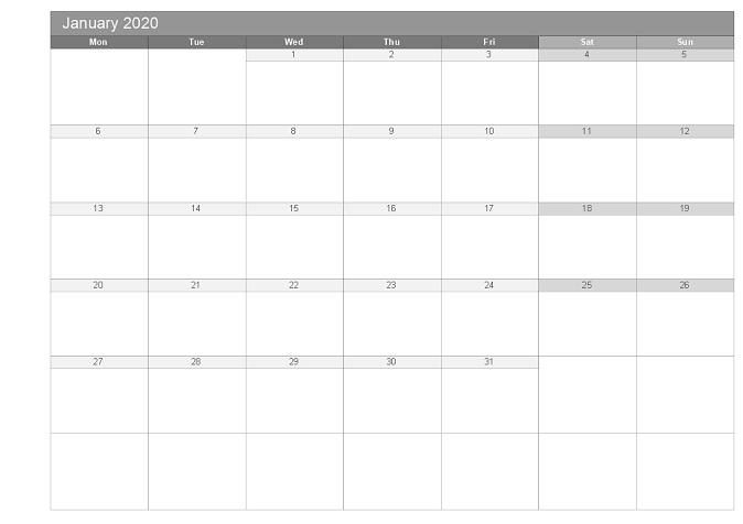printable grey monthly calendar 2020