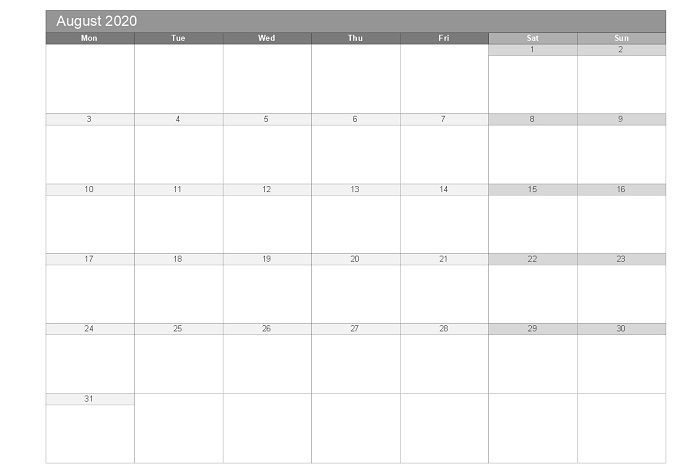August 2020 printable free monthly templates