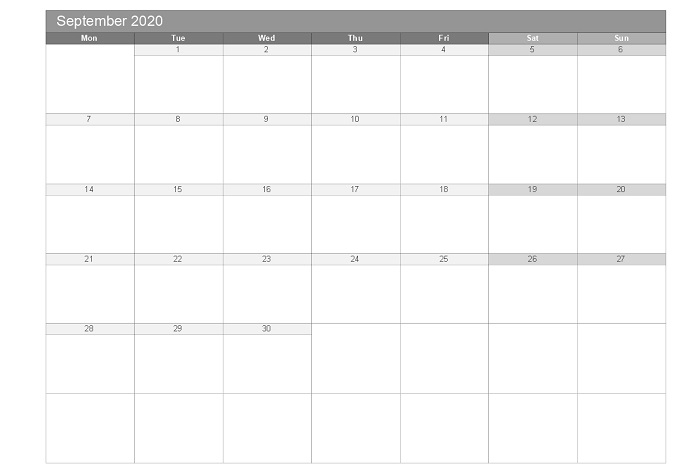 September 2020 printable free monthly templates