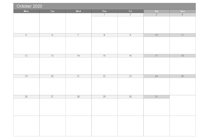 October 2020 printable free monthly templates