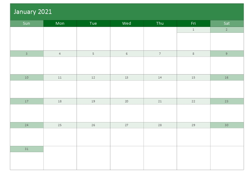 monthly calendar template january 2021 green color layout