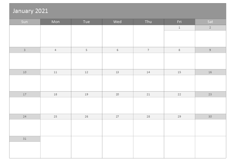 monthly calendar template january 2021 grey color layout